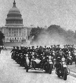 vintage motorcycle cops in front of Capitol