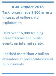 &quote;ICAC Impact 2016: Task forces made 8,800 arrests in cases of online child exploitation. Held over 16,000 training presentations and public events on internet safety.&quote;