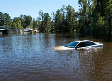 Vehicle submerged in flood water