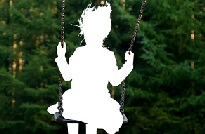 photo of an image of a missing child in a swing