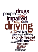 a cluster of different color words related to the theme of impaired driving