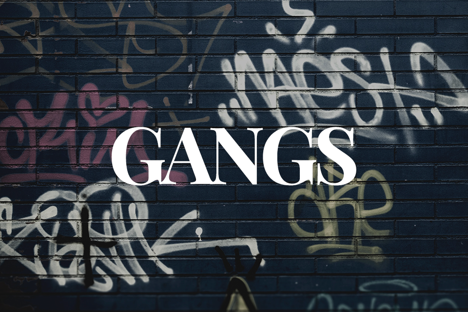 Gangs text over graffiti background