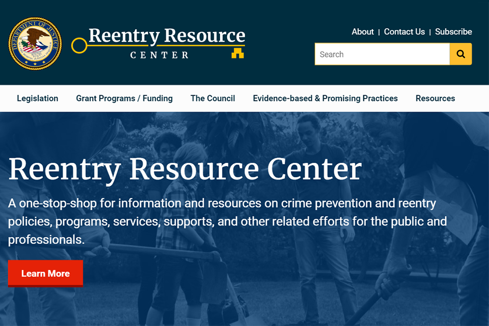 Reentry Resource Center homepage