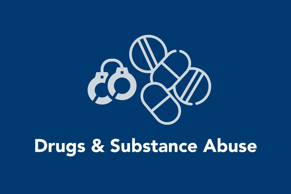 Icons representing drugs and substance abuse