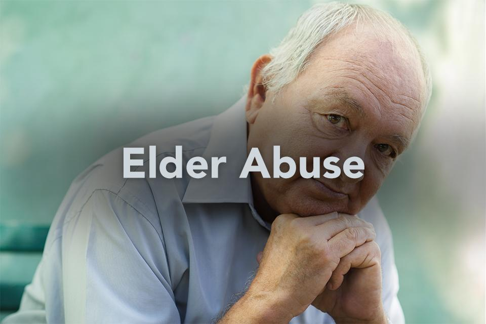 Elder Abuse on background of older man