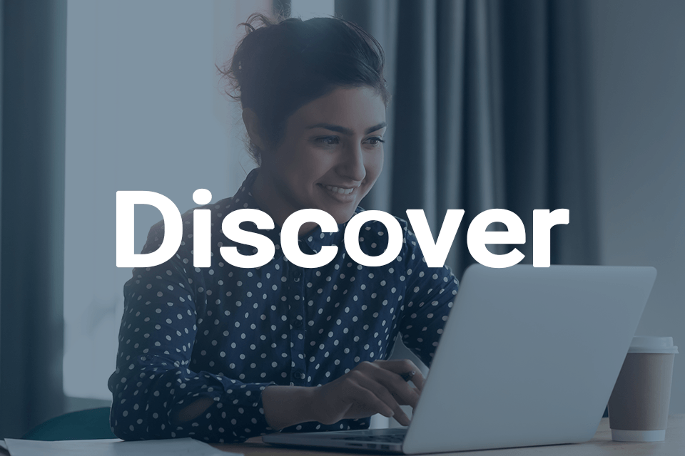 Discover on background of someone using a laptop